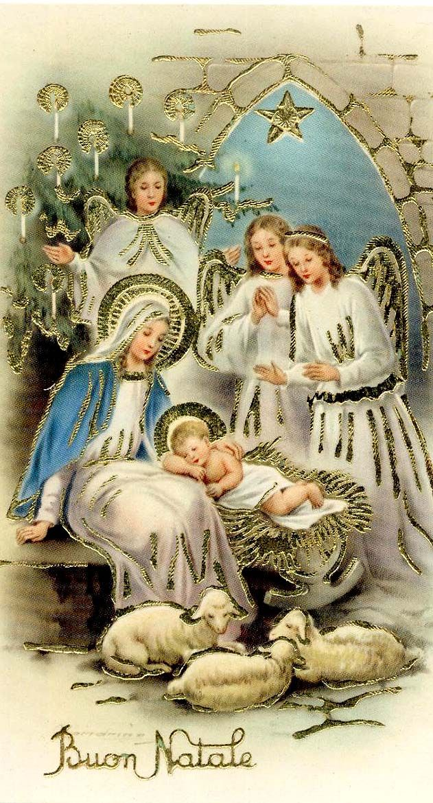 Antique Christmas Postcard, Christmas manger with angels