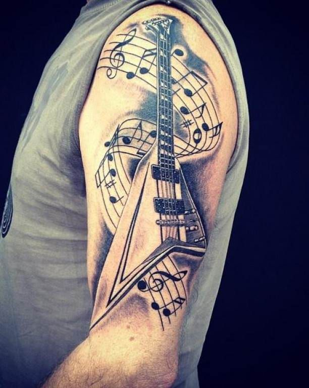 tattoo e guitar with notes upper arm tattoos pinterest. Black Bedroom Furniture Sets. Home Design Ideas