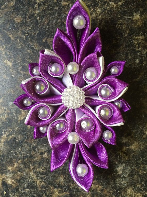Kanzashi purple white ladies girls hair by RowesFormalHairBows, $12.00