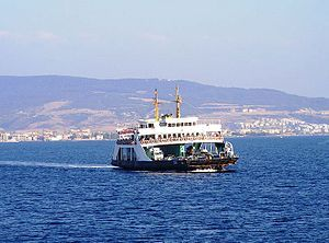 Car ferry crossing the Straits of Dardanelles between Çanakkale and Eceabat Fast ferries (hızlı feribot) are fast (50-60km/hour) catamaran-type ferryboats that connect for instance Istanbul to the other side of the Marmara Sea. They can cut travel time dramatically.