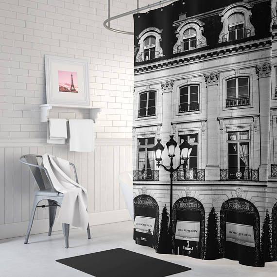 Black And White Paris Shower Curtain, Long Shower Curtain, Fabric Shower  Curtain, Paris