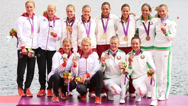 Hungary take gold in the Women's Kayak Four (K4) 500m Sprint final.  Krisztina…