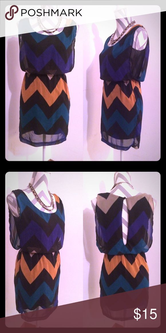 Sexy chevron print dress XS sheer loose sleeveless Super cute, hip, black, teal, blue, tan and orange chevron print.  Sheer print over black lining, seen under wide sleeveless arm holes.  Scoop neckline buttons up behind the neck.  Cinch waist.  Size XS. Charlotte Russe Dresses