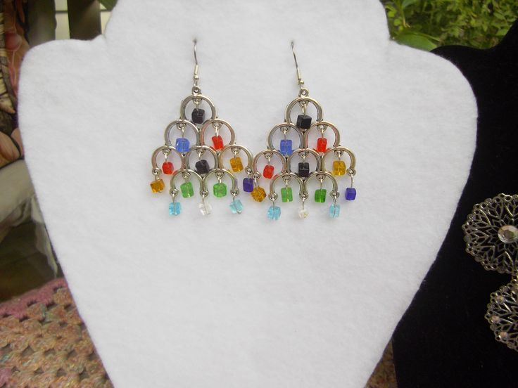 Large Chandelier type Silver Tone Earrings with Multi Colour Swarovski Cube Crystals