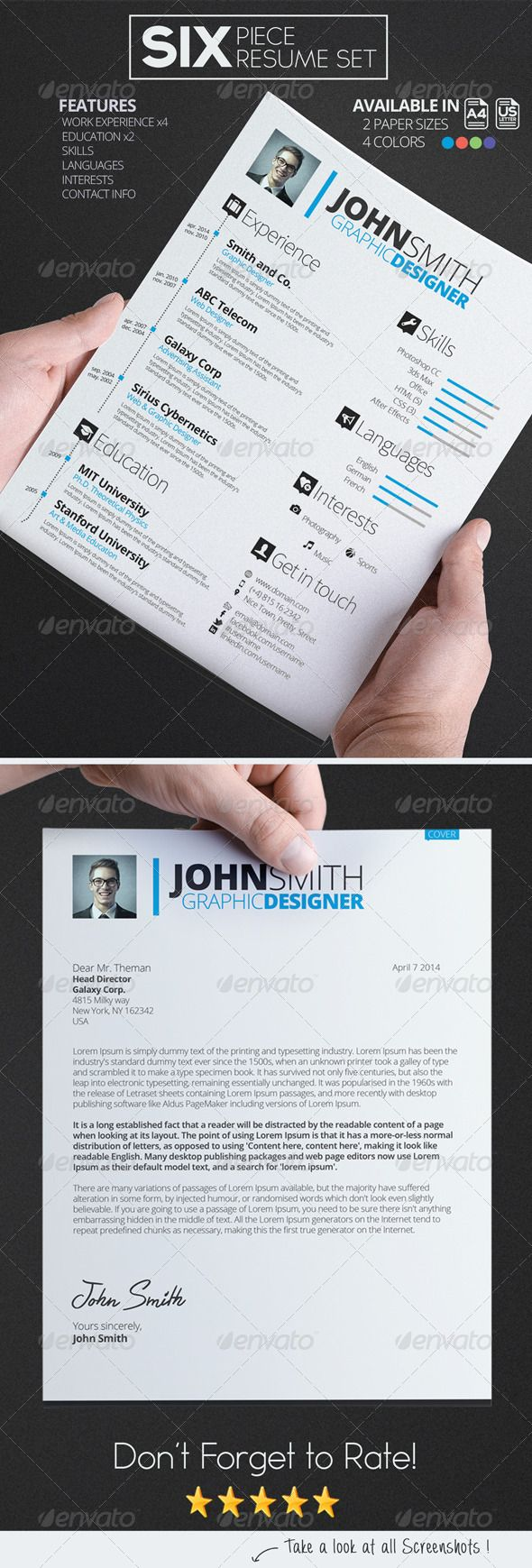 A perfect Resume Set to get that great job! #psd #template