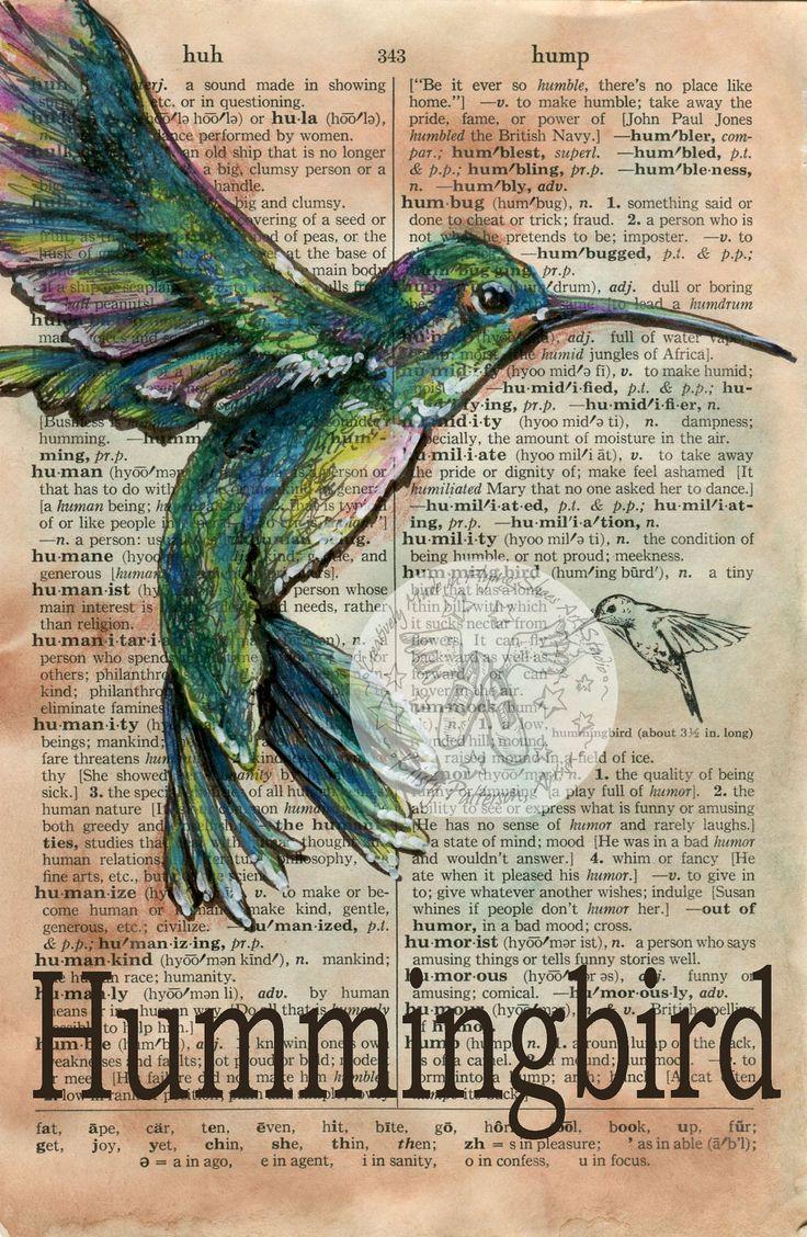 PRINT:  Hummingbird Mixed Media Drawing on Distressed, Dictionary Page. $10.00, via Etsy.