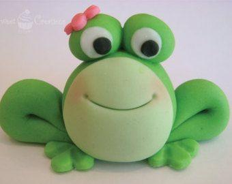 3D Fondant Girl Frog Cake Topper
