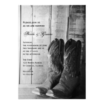 Invite your friends and family to your upcoming rural nuptials with the Rustic Cowboy Boots Wedding Invitation. Customize it with the personal names of the bride and groom and specific marriage ceremony information. Feel free to change the text, font or paper type to suit the needs of your wedding. It is currently shown here on basic paper. This shabby chic custom rustic wedding invite features a digitally enhanced black and white photograph of leather cowboy boots and weathered barn wood…