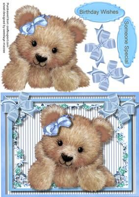 Lovely Little Fuzzy Bear in blue  on Craftsuprint - Add To Basket!