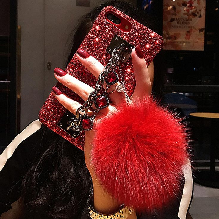 Diamond chain fur tassel ball iphone case girly giggles