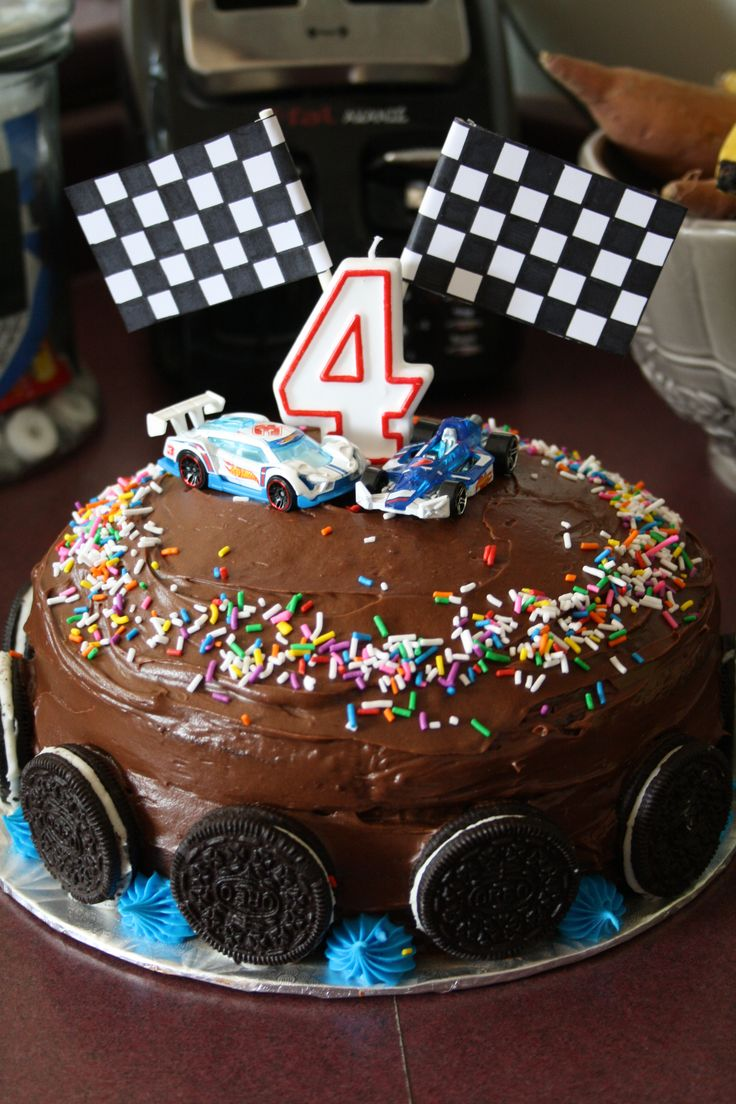 Race car cake creation.