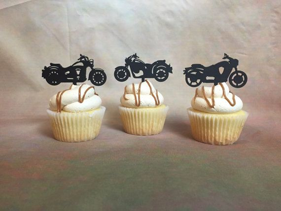 Motorcycle Cupcake Toppers Harley Davidson by PSWeddingsandEvents