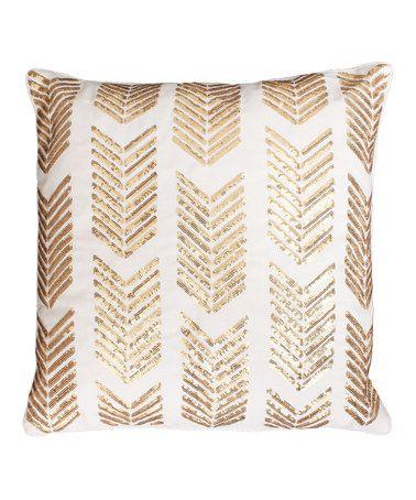 Look at this #zulilyfind! Egret Gold Sequin Hadara Sequin Arrow Throw Pillow #zulilyfinds