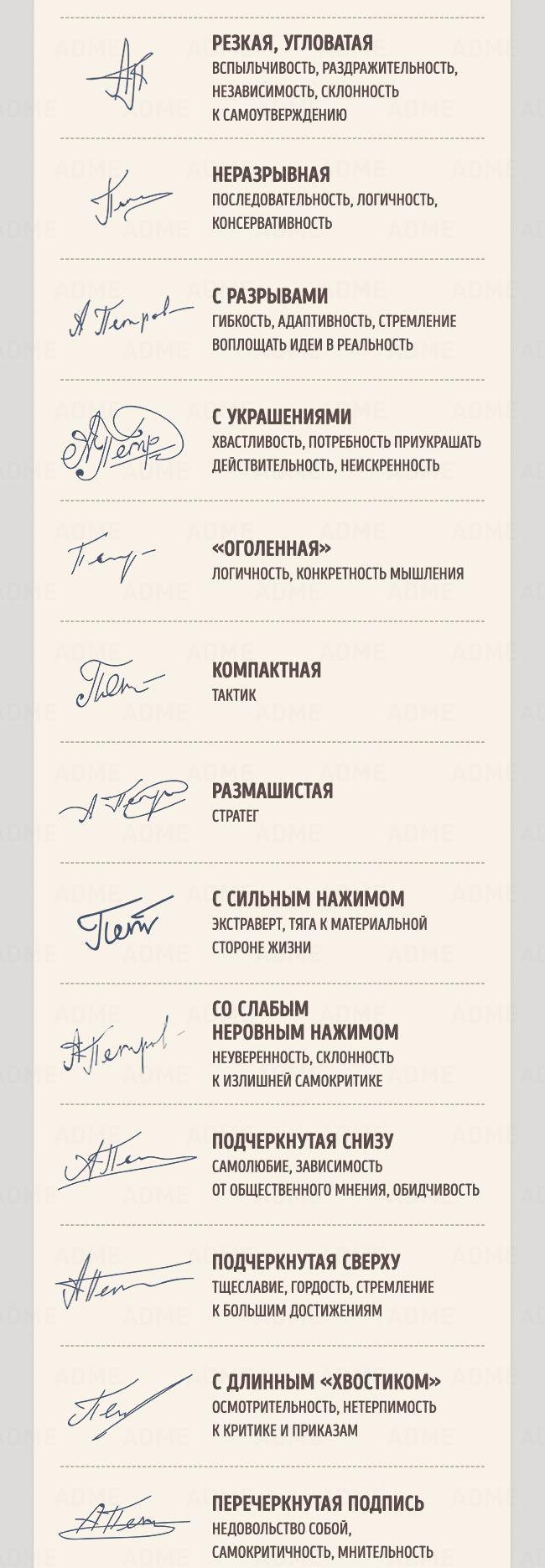 Что говорит о человеке его подпись