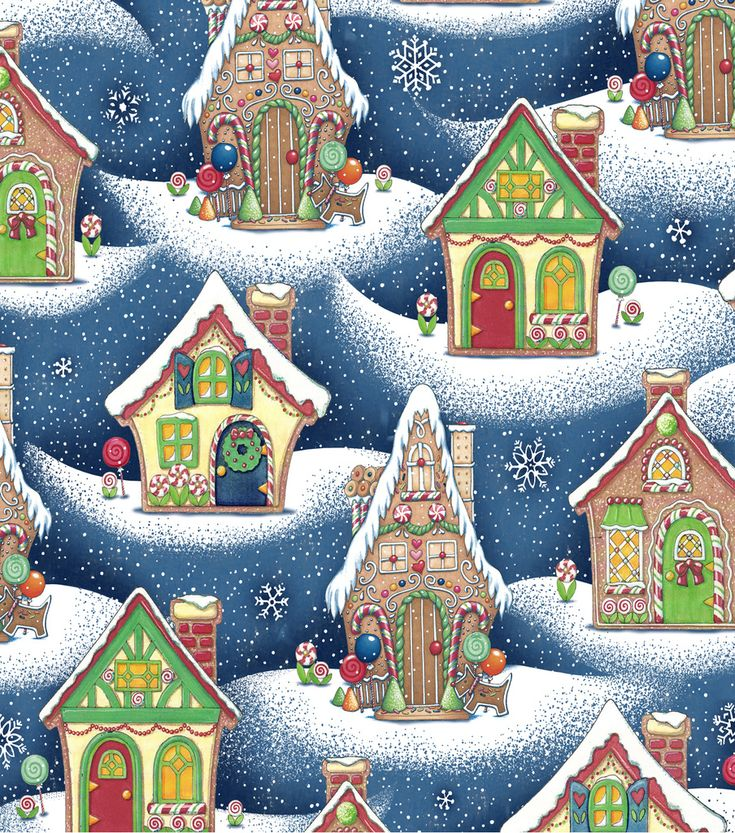 Holiday Inspirations Christmas Fabric-Mary Engelbreit Gingerbread Houses
