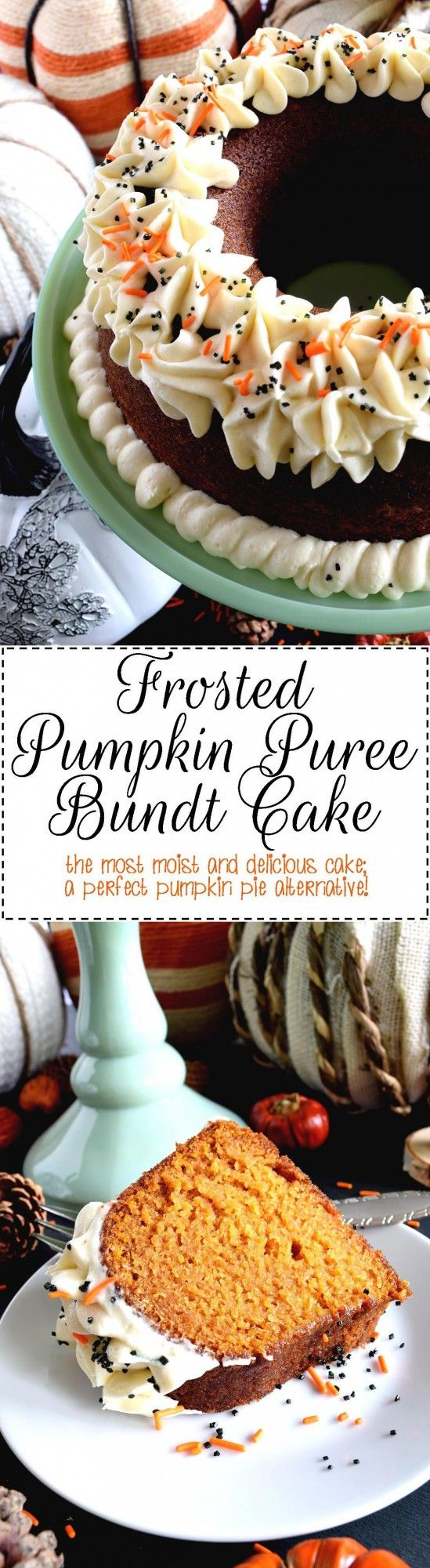 Frosted Pumpkin Puree Bundt Cake - Super moist, and deliciously pumpkin flavoured, Frosted Pumpkin Puree Bundt Cake is a perfect autumn dessert.  Pair this cake with your favourite hot beverage for a delightful chilly afternoon indulgence!