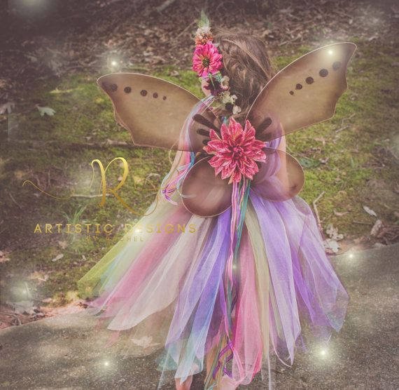 Woodland Fairy Costume Tutu Dress With Matching Wreath and Wings.  Pixie Style Skirt Idea For Toddler Girl Outfit.  Fall Harvest Autumn Princess Pageant.  DIY Glitter Fairy Wings.  Wand Set.