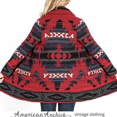 4c72ad625 Vtg Ralph Lauren Hand Knit Sweater Native Indian Southwestern Blanket Jacket  XS