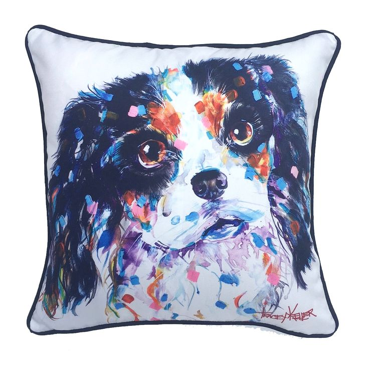 Tricolour King Charles Indoor/Outdoor Cushion Cover - Tracey Keller