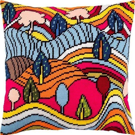 Cross Stitch Cushion Kit AUTUMN LANDSCAPE size 16x16 40x40 cm Embroidery kit DIY Needlepoint Kit Vervaco