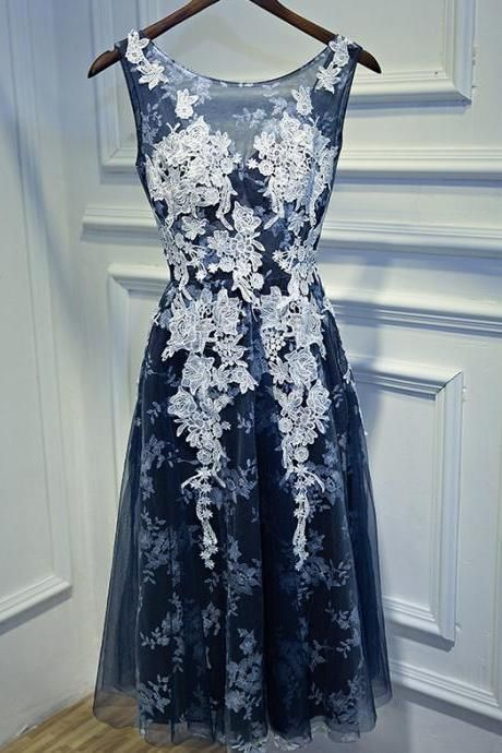 Navy Blue Short Prom Dresses 2017 Cash on Delivery Backless Appliques Tea Length Party Gowns Formal Prom Dress