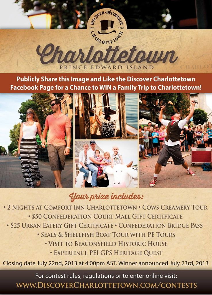 We're running another exciting contest! Visit http://www.discovercharlottetown.com/en/plan/family-getaway.php to enter now!