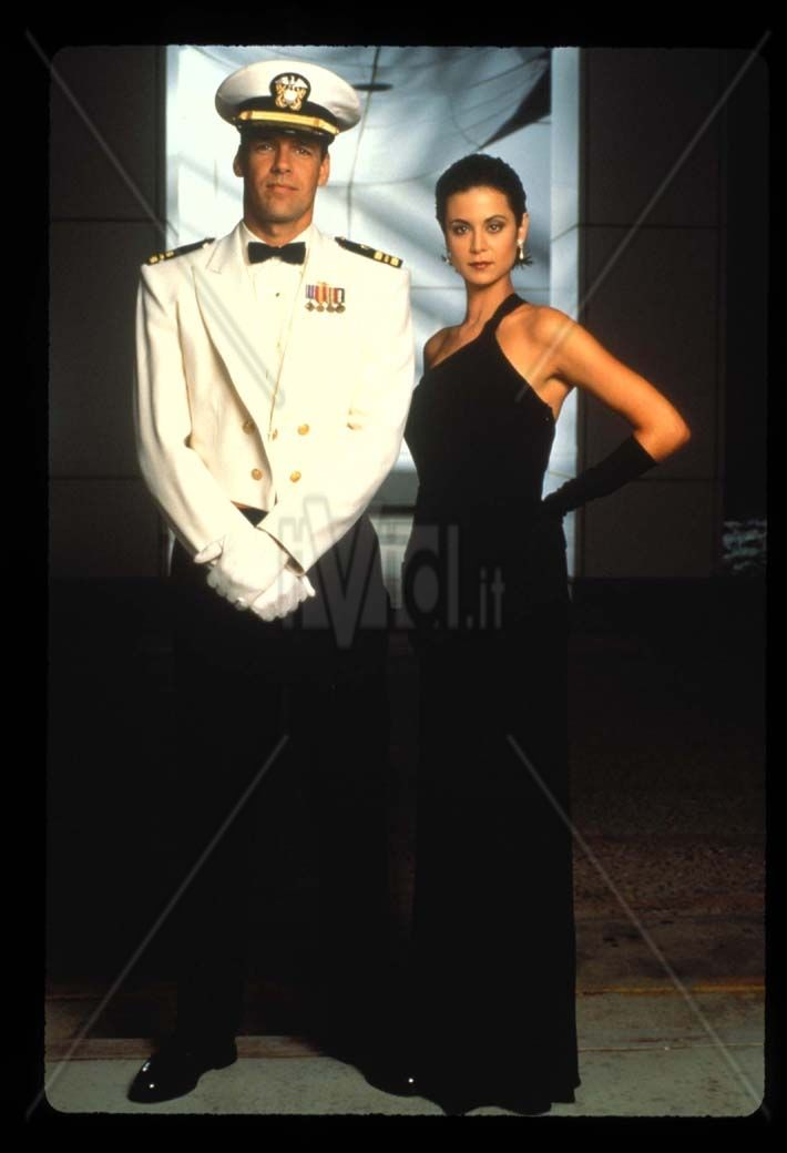 David James Elliott as Harmon Rabb and Catherine Bell as Sarah MacKenzie in JAG