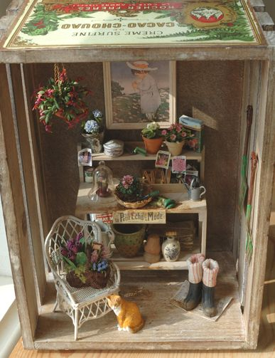 potting table vignette in an old crate