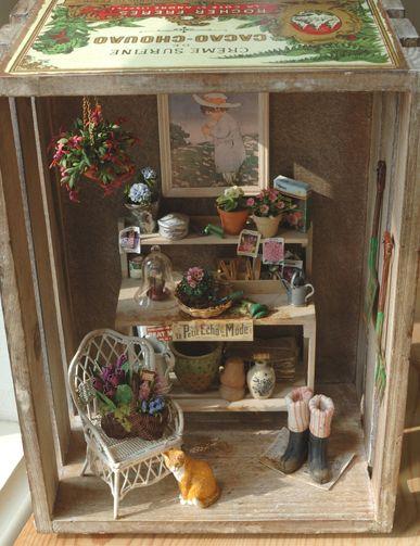 Gardening miniature fairies pixies trolls gnomes for Mini potting shed