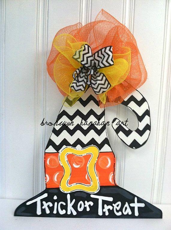 Trick or Treat Chevron Witch Hat Door Hanger  by BronwynHanahanArt, $50.00