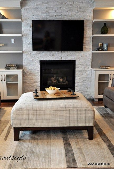 FAMILY ROOM REDESIGNED: The original black ceramic tile fireplace surround had to change. This Quartzite stone had just the right texture and colours. Taking it from the floor to the ceiling created the perfect focal point, with built-ins on either side. - soulstyle.ca