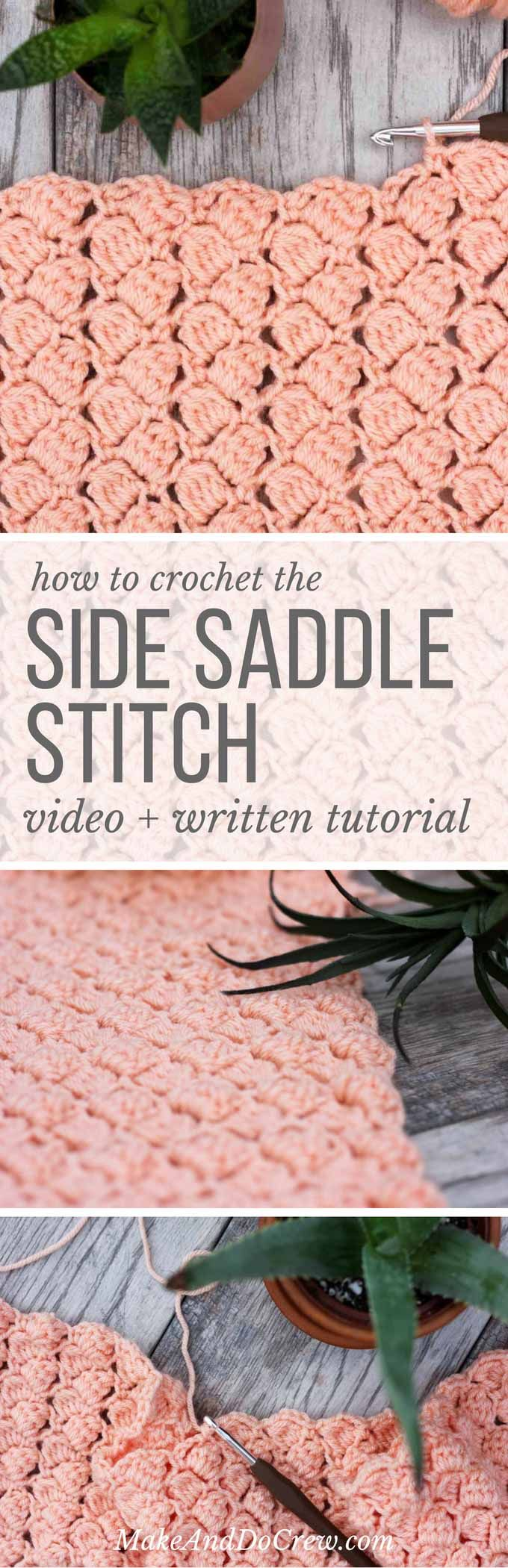 The side saddle crochet stitch has a lovely, repetitive look that is both airy and substantial at the same time. Perfect stitch to use in a crochet afghan or throw. Check out this video tutorial to learn how to do it step-by-step!