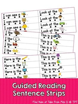 These sentence strips are a great addition to your guided reading routine. Students will practice reading some predictable sentences using key sight words. Under each word there is a dot to develop 1 to 1 matching. There are a total of 64 sentences. If you have any questions please email me at talesfrommissd@gmail.com.