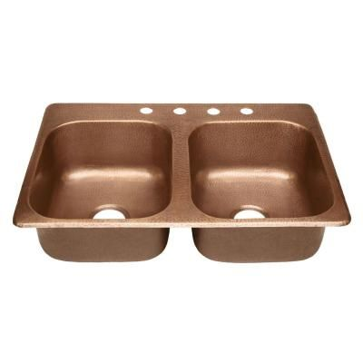 SINKOLOGY Raphael Drop-In Handmade Pure Solid Copper 33 in. 4-Hole Double Bowl Kitchen Sink in Antique Copper-KDF-3322AH - The Home Depot