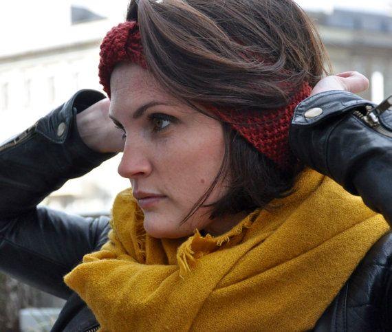 Bandeau tricoté main, idéal pour garder les oreilles au chaud pendant lhiver tout en restant jolie