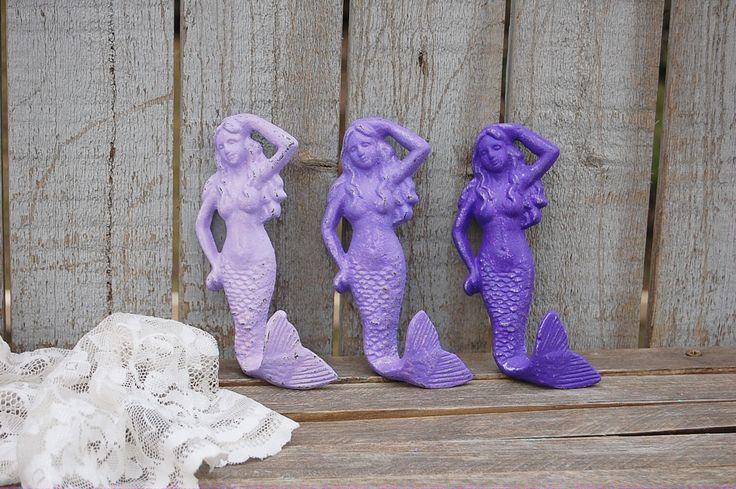 Purple cast iron mermaid hooks