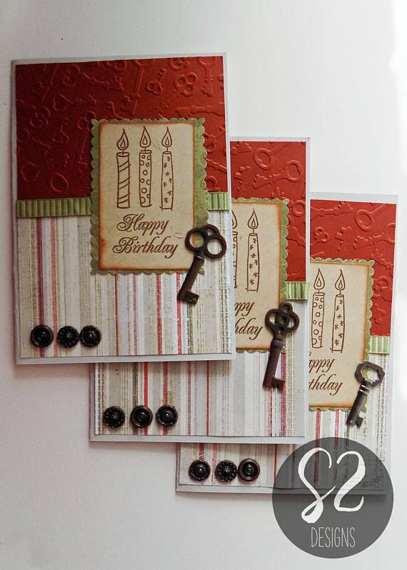 Handmade Birthday Card With Key Embellishment Etsy 21st Birthday Cards Card Design Handmade Card Making Birthday