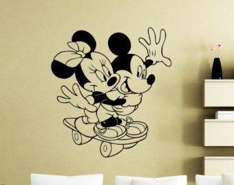Mickey Mouse Wall Decal Disney Cartoon Minnie Mouse Sport Vinyl Sticker  Bedroom Poster Nursery Girl Boy