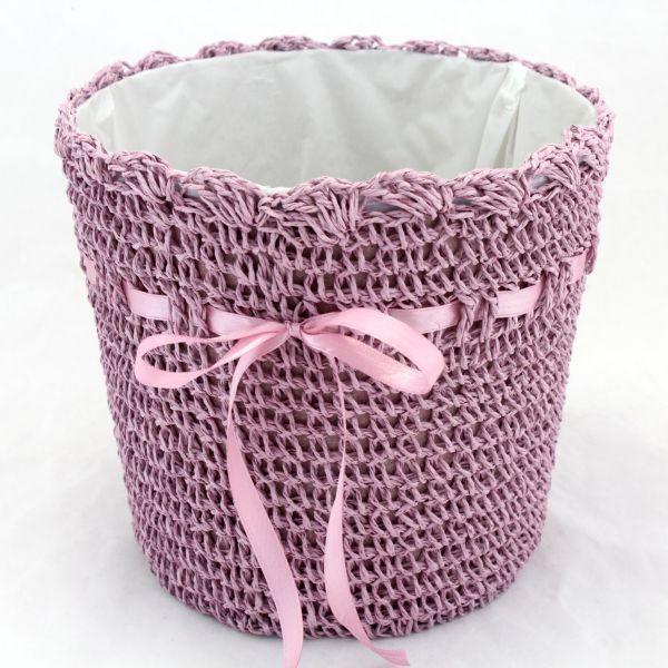 Pletený obal na květináč > varianta Fialová světlá