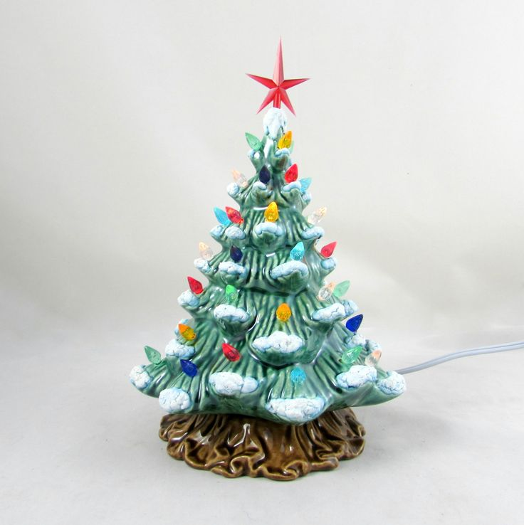 Small Vintage Style Ceramic Christmas Tree with Tree Trunk-8.5 inches with base, hand made, painted, pine tree by aarceramics on Etsy
