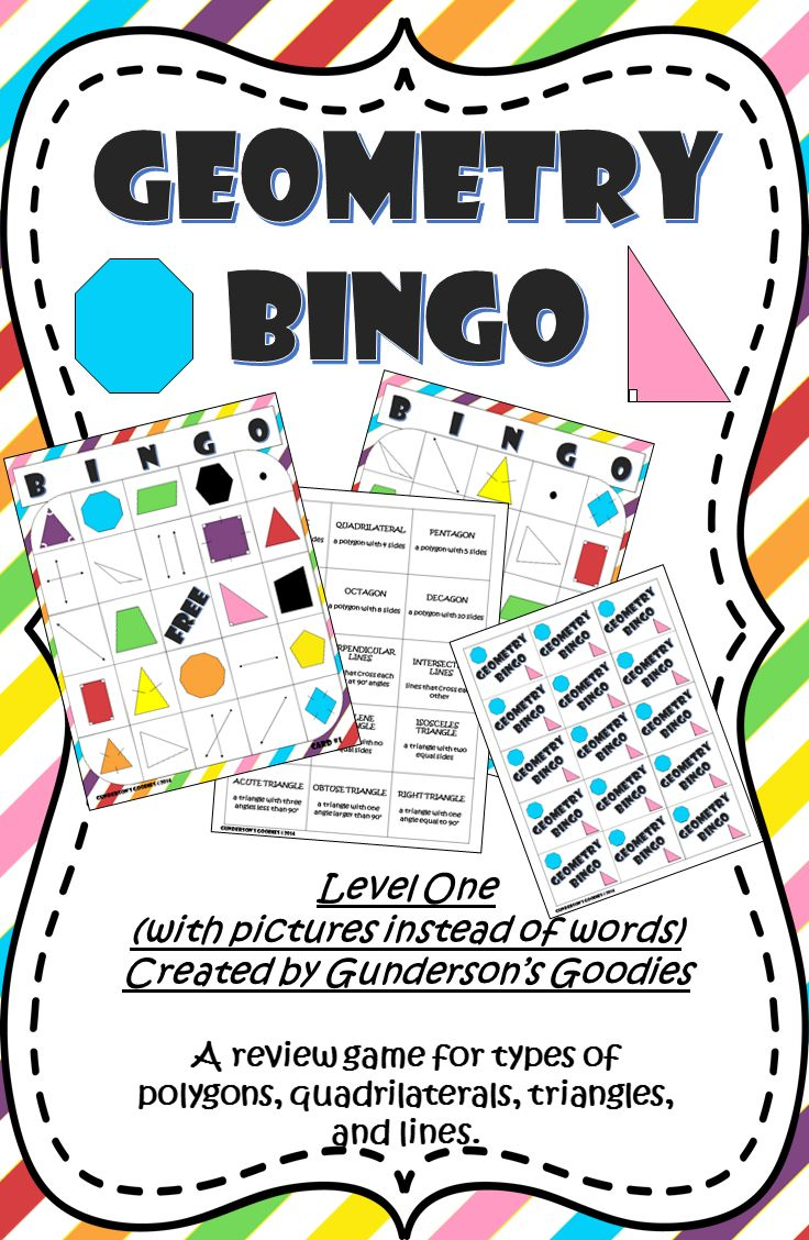 Geometry Bingo Level One (With images) Math materials