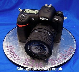 SLR Camera shaped Birthday Cake - this cake looks so real, like you could pick up that camera and start taking pictures with it.