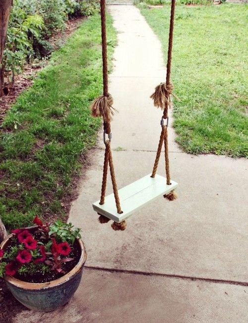 8 Cool DIY Outdoor Swings | Shelterness...simple tree swing (via abeautifulmess)