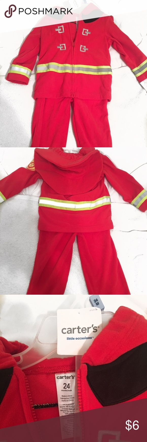 NWT Carter's Fireman Outfit 🚒 Brand New 24 Months Attached Fireman Hat Soft material  🚭Smoke Free Home 🚫No Trades Carter's Costumes Seasonal
