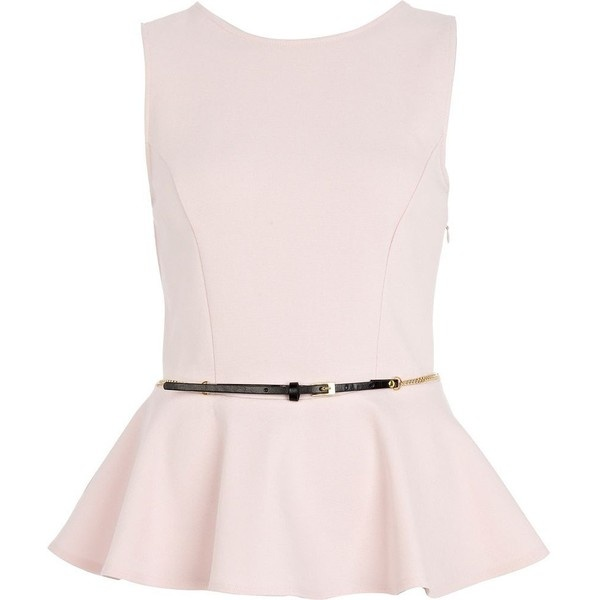 River Island Pale Pink Belted Peplum Top ($19) ❤ liked on Polyvore