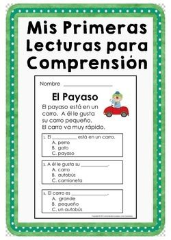 Very First Reading Comprehension Passages ~ Spanish Version ($)