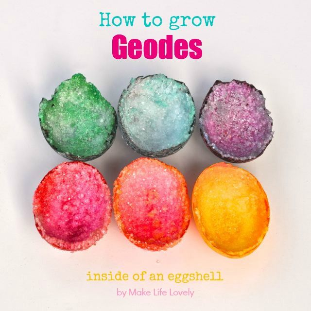 How To Grow A Geode In an Egg Want to make some amazing looking geodes grow out of an egg, and teach your kids some science at the same time?  Its actually pretty easy, and the whole process takes under two days, most of that which is just watching and waiting. My daughter used this idea for her science project, too!