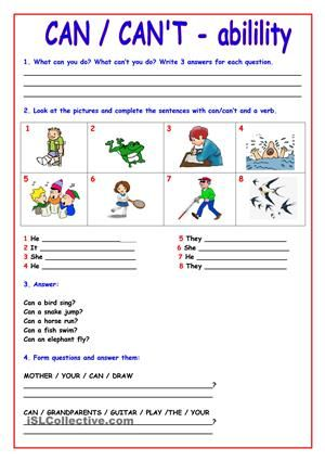 Exercises to practice/reinforce the use of CAN/CAN´T for ability. It can also be used as homework. Page 2 has the black and white version. Page 3 has the answers. IT WAS FIRST PUBLISHED BY MYSELF IN THE ESLPRINTABLES WEBSITE IN MAY 2011. - ESL worksheets