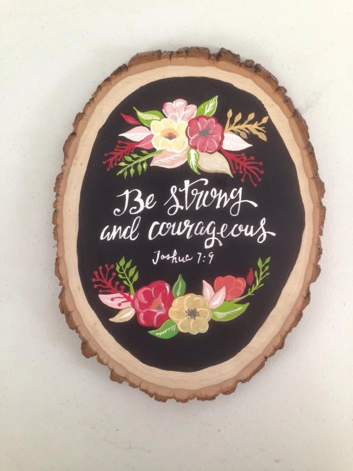 bible quote floral wood round basswood chip painted