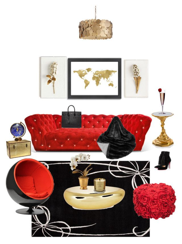 """""""Red, black and gold living room"""" by londonmillionaire on Polyvore featuring interior, interiors, interior design, home, home decor, interior decorating, Christian Louboutin, Hermès, Americanflat and Helen Moore"""